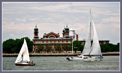 Sailing by Ellis Island. 6/3/2012 (edited photo using PicMonkey)