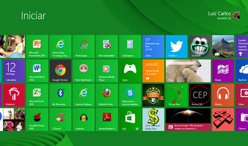 Windows 8 com botão INICIAR