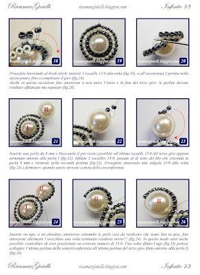 TUTORIAL Orecchini Infinito realizzati con perle 8 mm e decorati con una doppia onda in brick stitch di rocailles 15/0 a formare il simbolo dell'infinito - Ricamar Gioielli