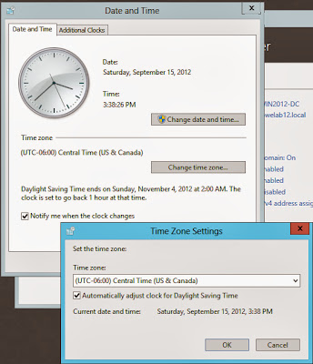 Windows Date and Time configuration