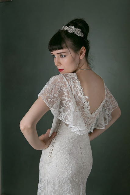"1930s Vintage Wedding Dress ""ANGEL"" by Heavenly Vintage Brides, deep lace v-back"