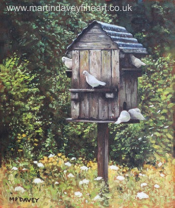 White Doves using a Dovecote oil painting