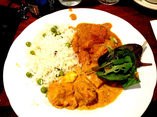 My first plate - Chicken Tikka Masala, Tofu Veggie Curry, and Basmati Rice