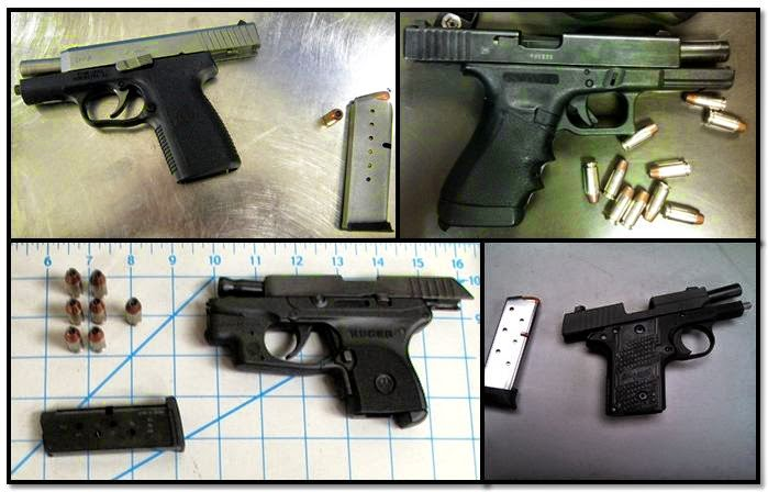 Firearms Discovered at (L-R / T-B)DAL, AUS, PDX & CHS