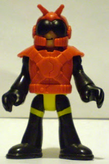 Front of unknown bug man action figure with helmet on
