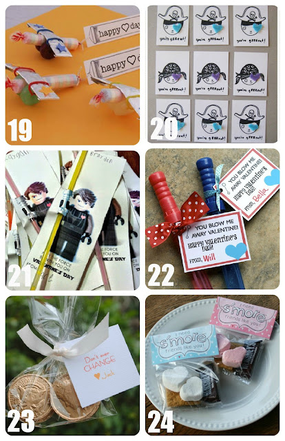 Candy Plane, Pirate, Lightsaber, Bubble Wand, Gold Coin, and Smore Valentines for Kids