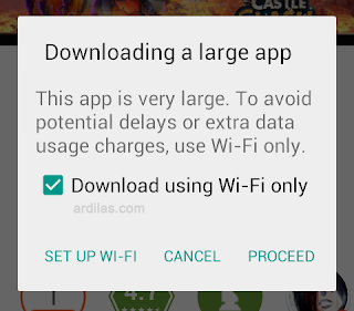 Pilihan penggunaan wifi - Cara Download & Install Aplikasi Game Konflik Kastil | Android