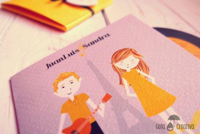 invitación boda amarilla vinilo Gota Creativa