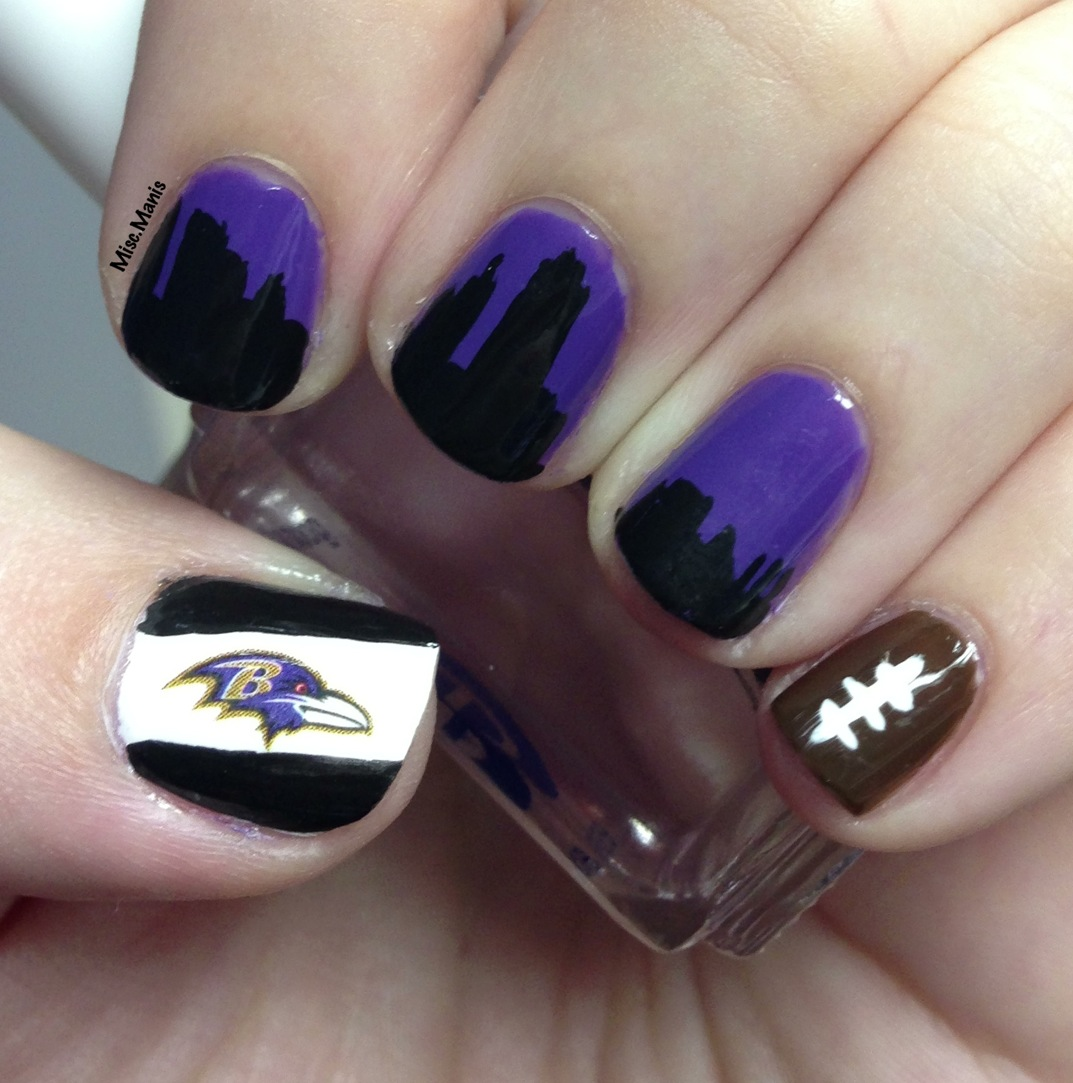 Miscellaneous Manicures Baltimore Ravens Nails Afc Championship Skyline
