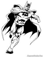 Lembar Mewarnai Batman Berlari Mengejar Joker Yang-Melarikan Diri
