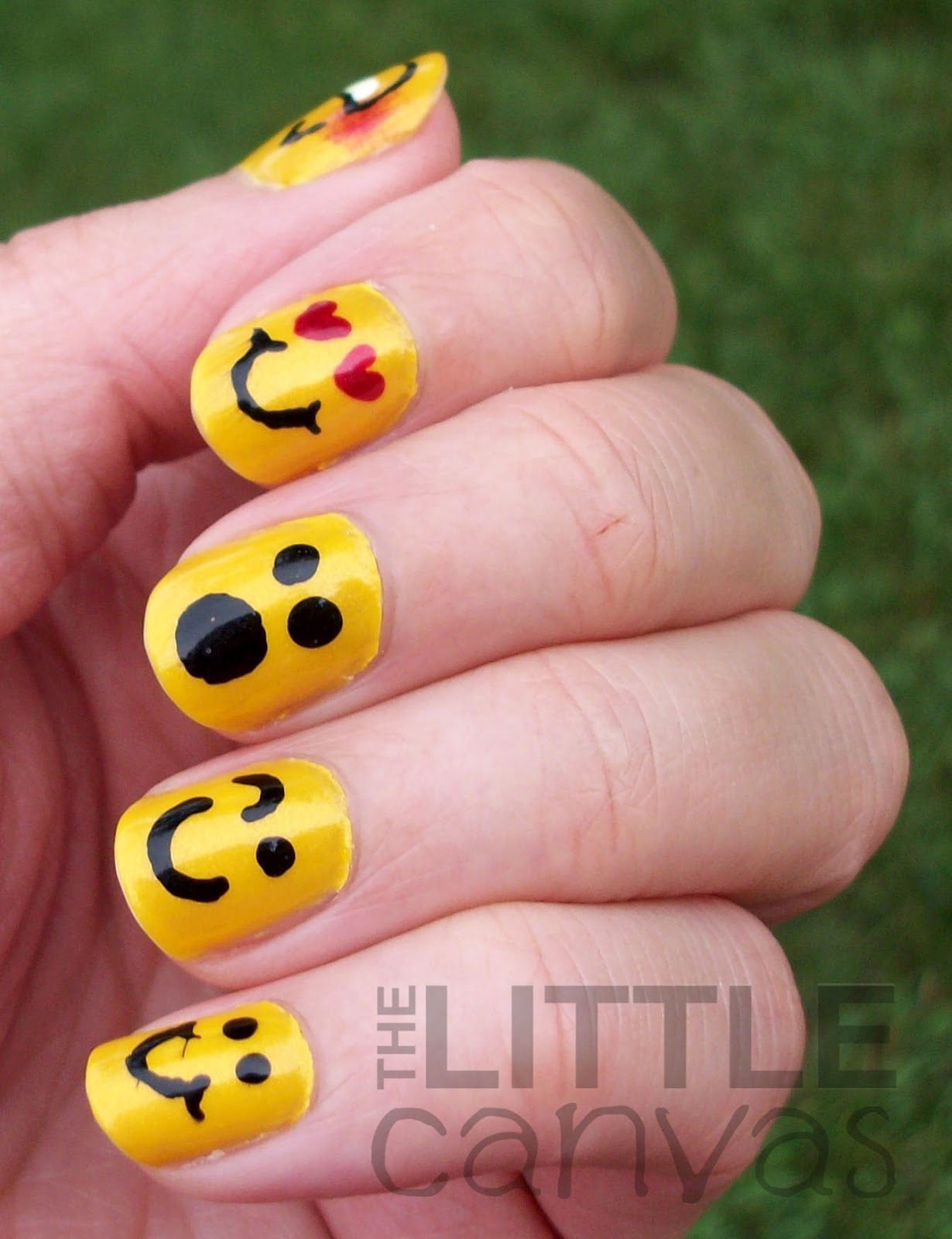 31 Day Challenge - Day 3 - Yellow Nails - Emoticons! - The Little Canvas