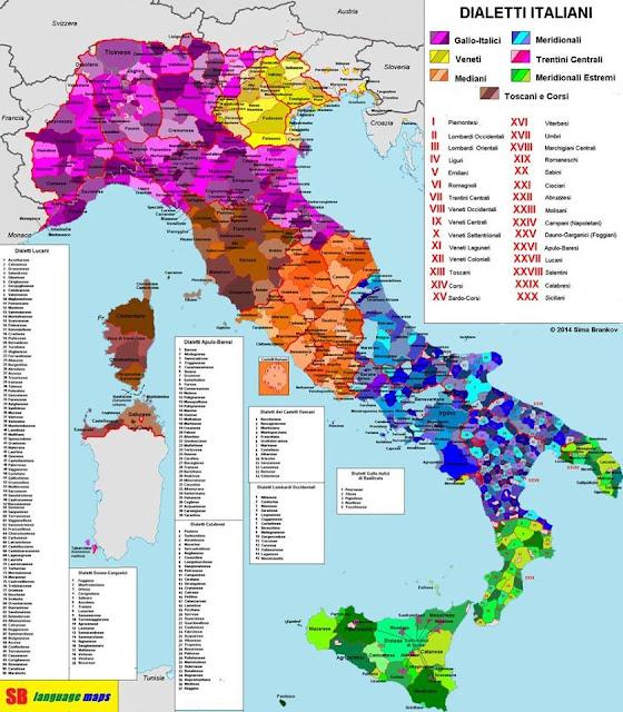 Карта диалектов Италии