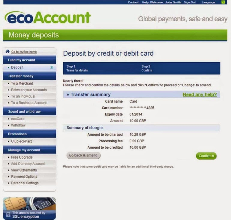 ecoPayz Account Deposit Screen