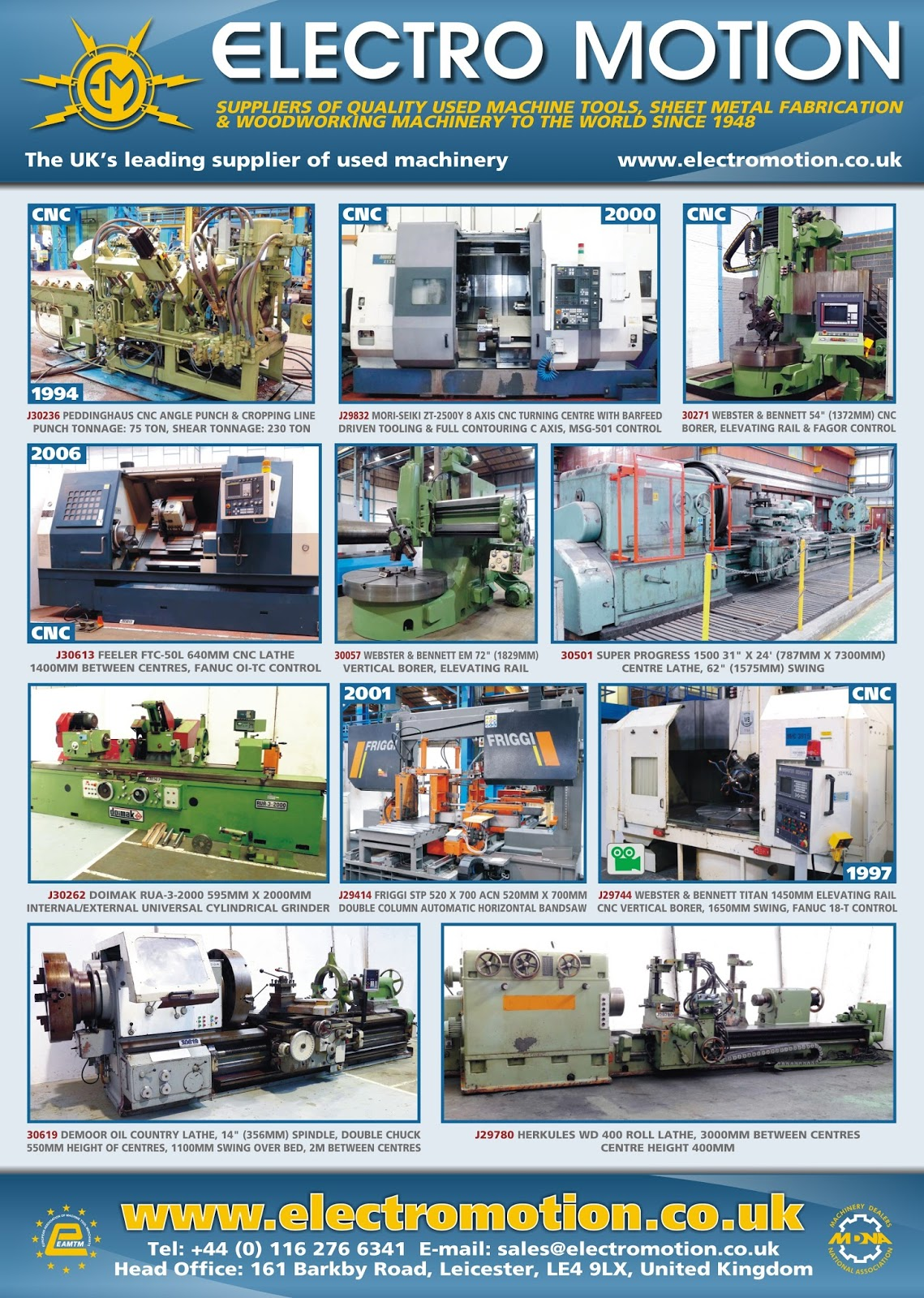 Electro Motion Used Machinery Suppliers: August 2013