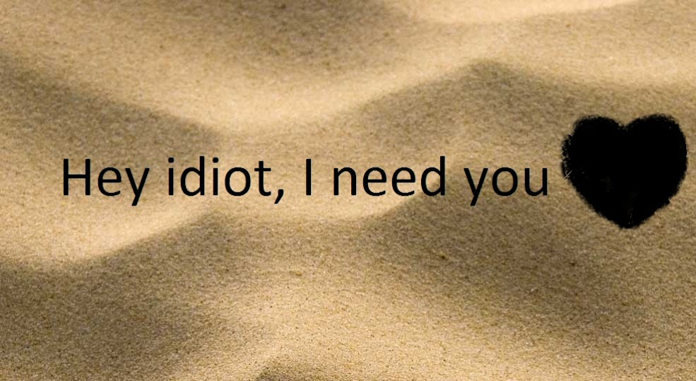 Hey idiot, I need you