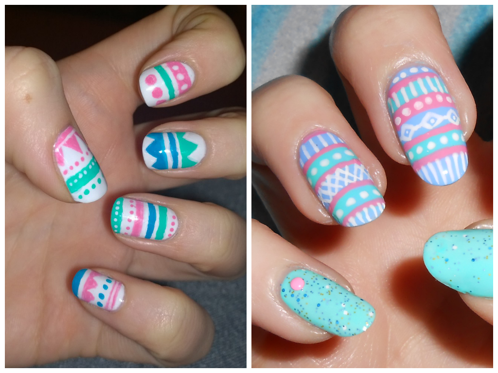 Naileymabob bff friday tribal print with an easter twist it came about because i tried to do some lovely bright coloured tribal nail art and they just ended up like easter eggs prinsesfo Image collections