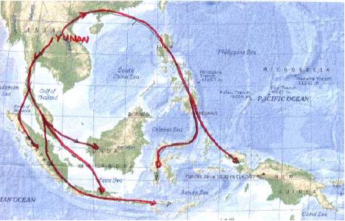 Peta Penyebaran Nenek Moyang bangsa Indonesia (Sumber: Pengantar Sejarah Kebudayaan Indonesia, 1)