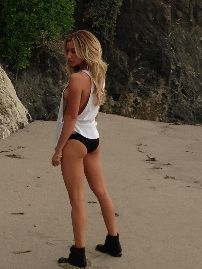 Ashley Tisdale Shows Side Boob on the Beach