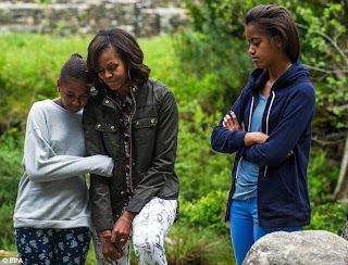 Sasha, Michelle and Malia Obama in Glendalough, Co. Wicklow last week. (EPA)
