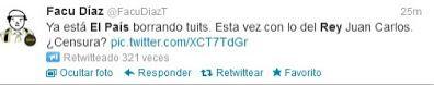 Tuit que difundió el falso rumor sobre salud rey