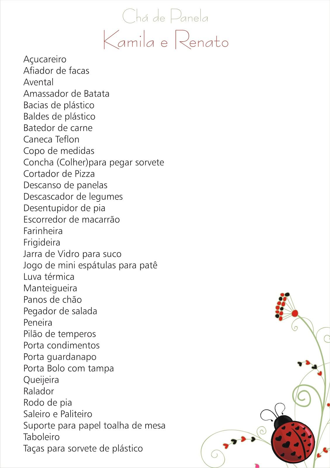 Ch De Cozinha Lista Presentes De Lista De Ch De Panela Completa