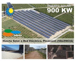 Huerto solar fotovoltaico 900 KW PICASSENT inderen energias renovables instaladores
