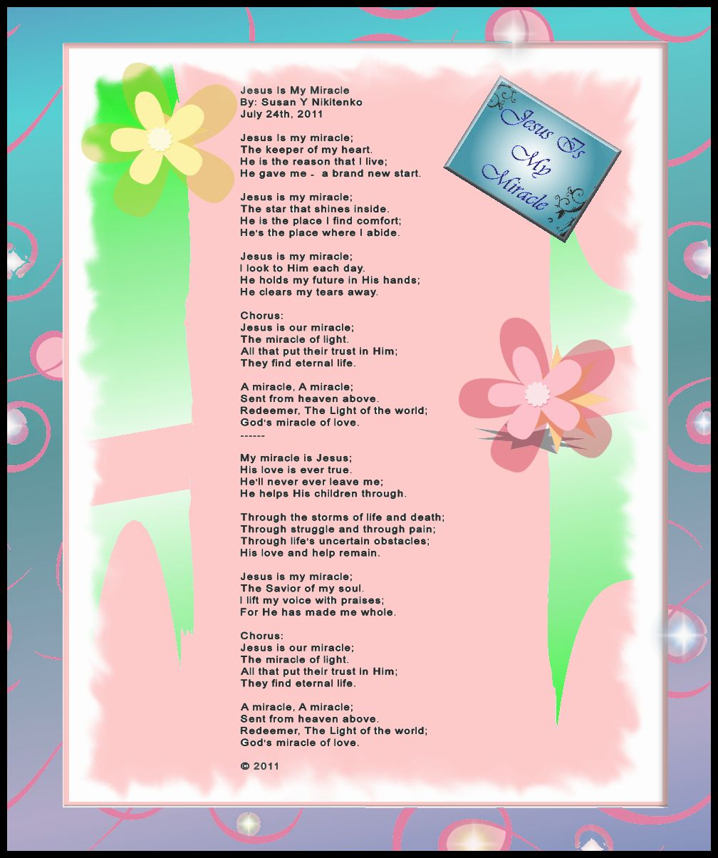 Christian Images In My Treasure Box: Jesus Is My Miracle - Poem Poster