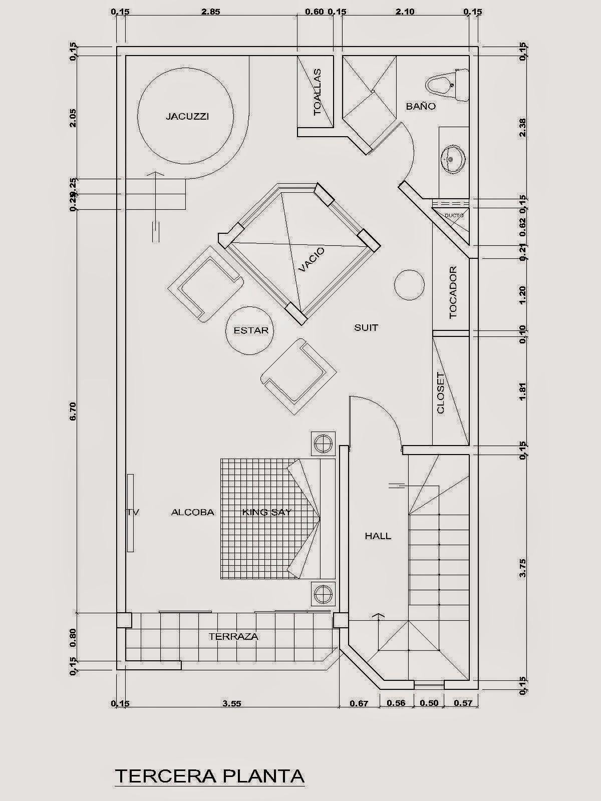 Planos de viviendas gratis dormitorio generoso for Jacuzzi redondo medidas