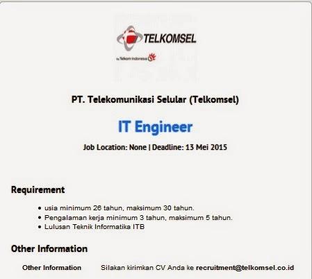 Lowongan kerja resmi PT Telkomsel