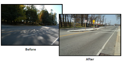 New midblock crosswalk installed on Piney Branch Road