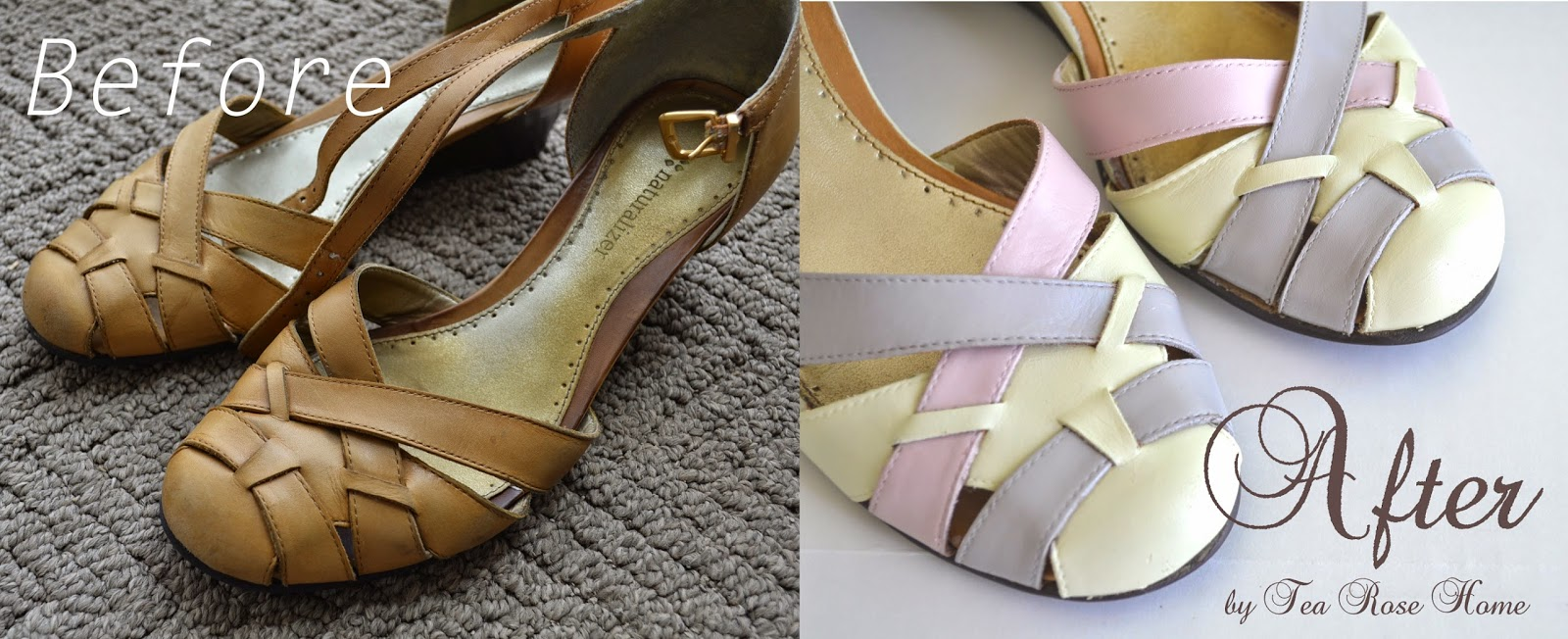 tea home shoe makeover how to paint leather shoes