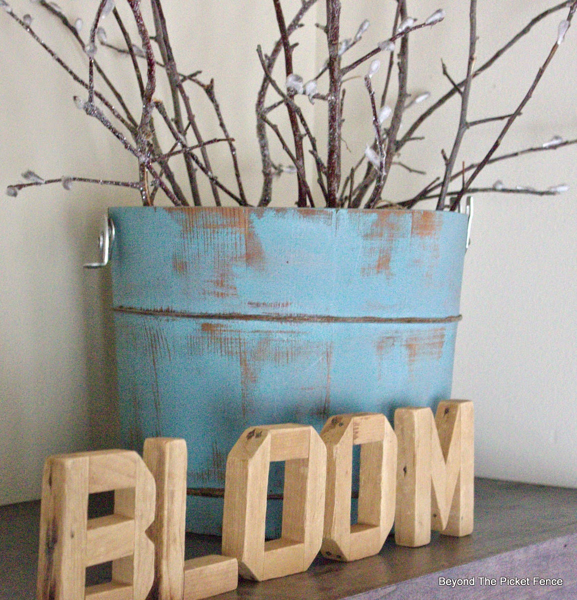 bloom, old bucket, spring, mantel, decor, vintage, shabby, repurposed, DIY, http://bec4-beyondthepicketfence.blogspot.com/2015/03/bestofdiy-spring-pussy-willows.html