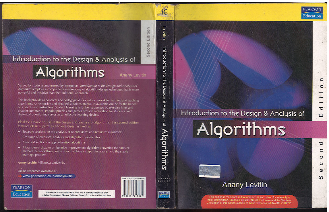 introduction to the design analysis Ture on algorithm design e book (and related literature) focuses on design and the theory of algorithms, usually on the basis of worst-case performance bounds.