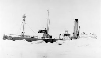 SS Baychimo, legendary ghost ship of the Arctic was last seen caught in an ice pack in 1969 in the Beaufort Sea and has never been seen since