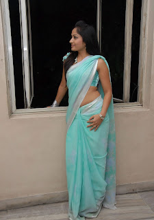 madhavi latha hot photos in Blue saree+(17)