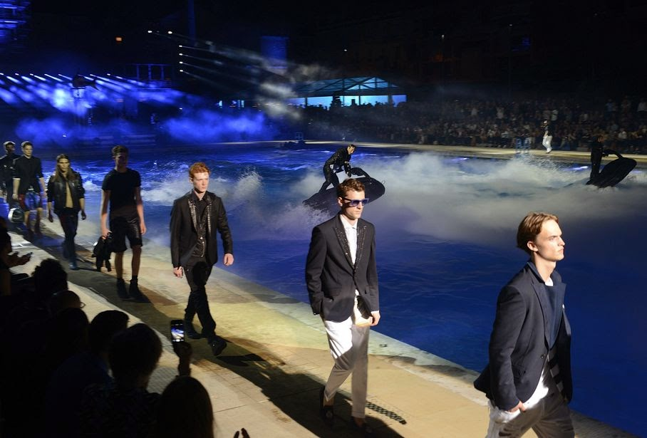 Models wear creations for Philipp Plein men's Spring-Summer 2015 collection, part of the Milan Fashion Week, unveiled in Milan, Italy, Saturday, June 21, 2014.