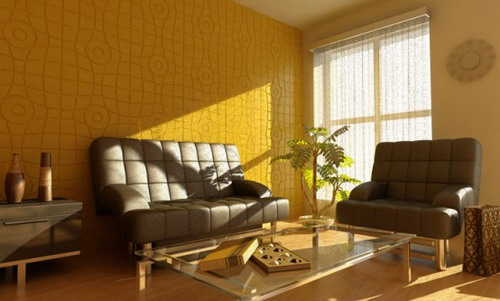 decorative yellow wall panels living room decor