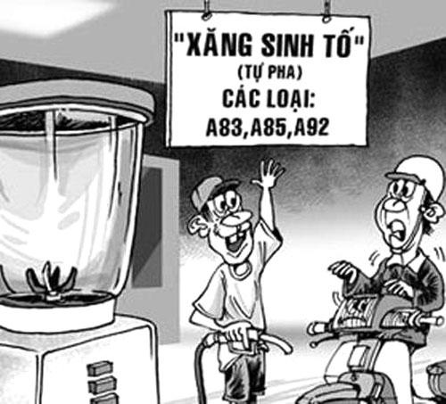 Tranh biếm họa về xăng tăng giá