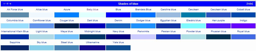 The 39 word thoughts 39 blog blue for What are the shades of blue