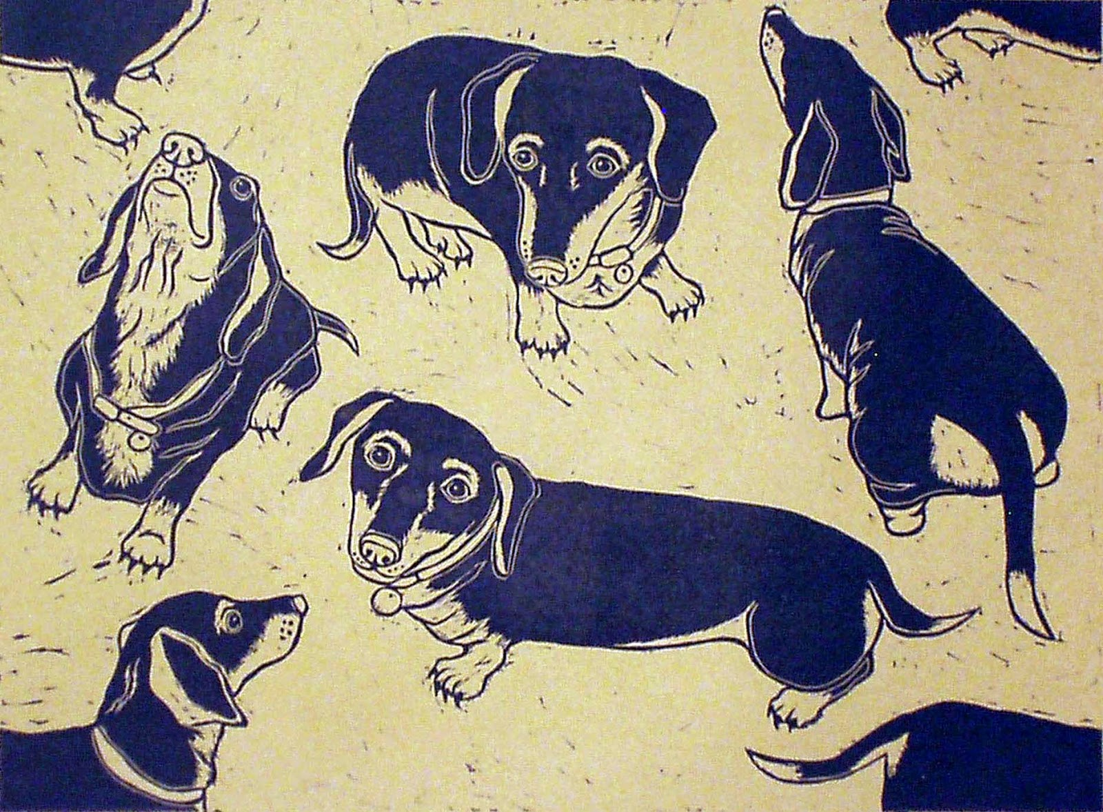 Single dachshund linocut print
