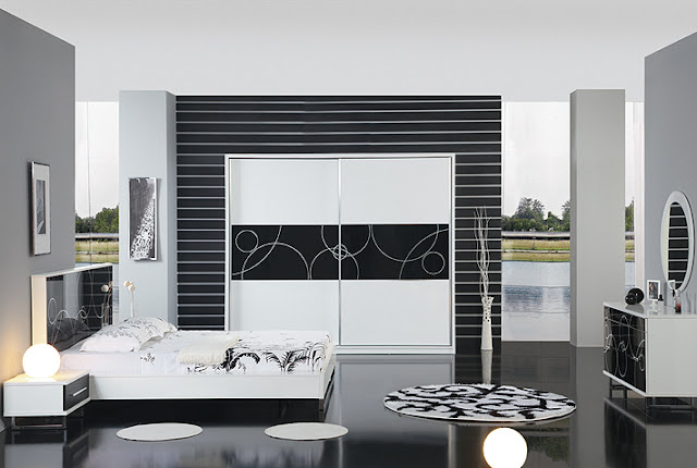 chambre noir et blanc design. Black Bedroom Furniture Sets. Home Design Ideas