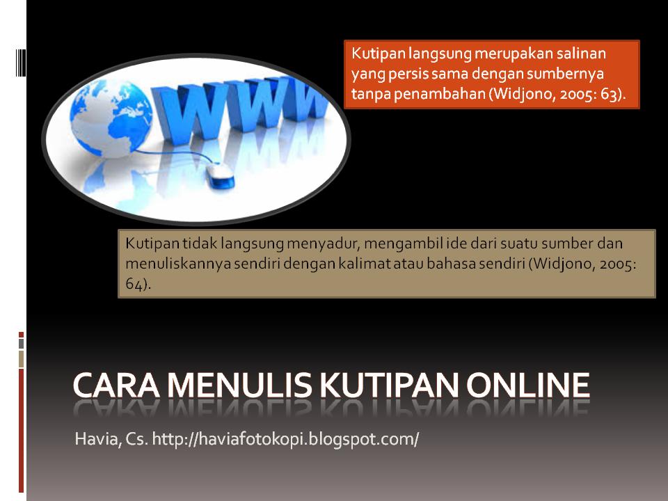 Cara Menulisa Kutipan Online, mengutip dari internet