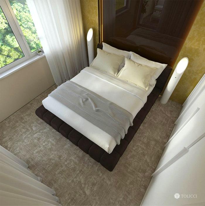 نظرة من اعلى على غرفة النوم
