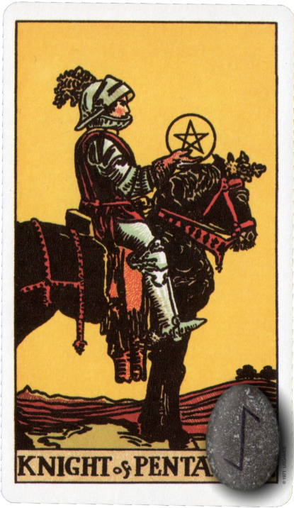 Original Rider Waite Tarot Knight of Pentacles, Runes, Eihwaz