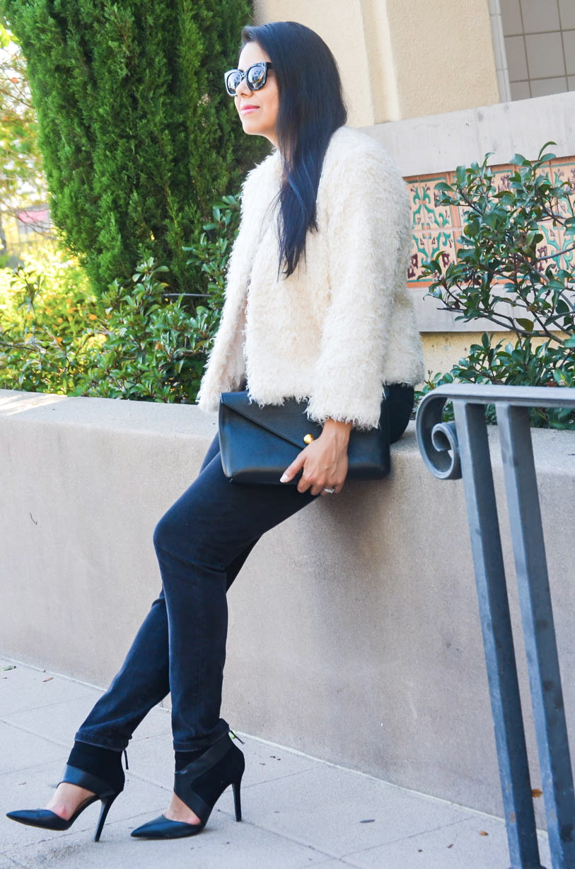 linel ellis clutch, zara cutout booties, how to wear a fuzzy jacket