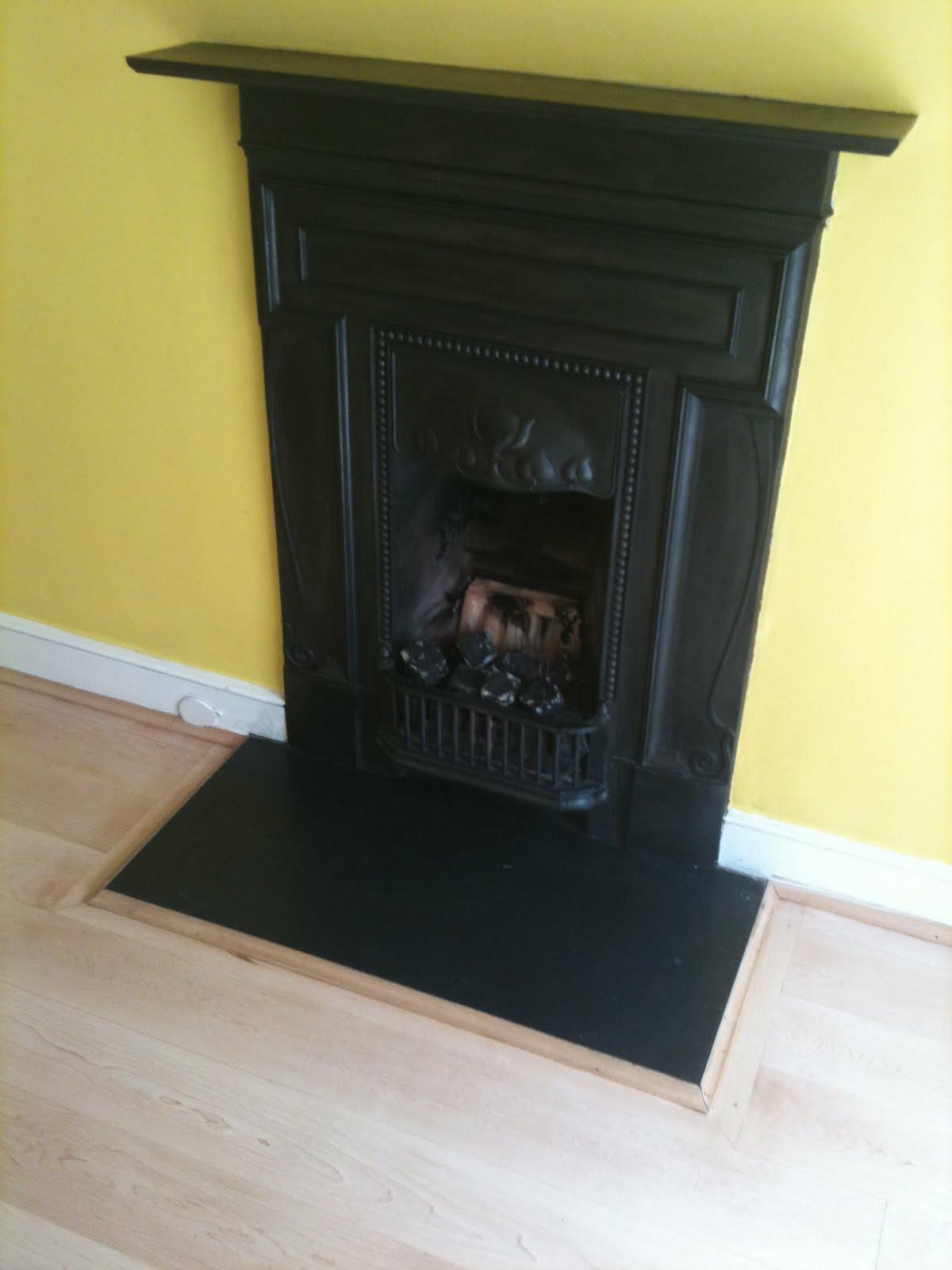 rather innocuous cast iron Art Nouveau chimneypiece was replaced