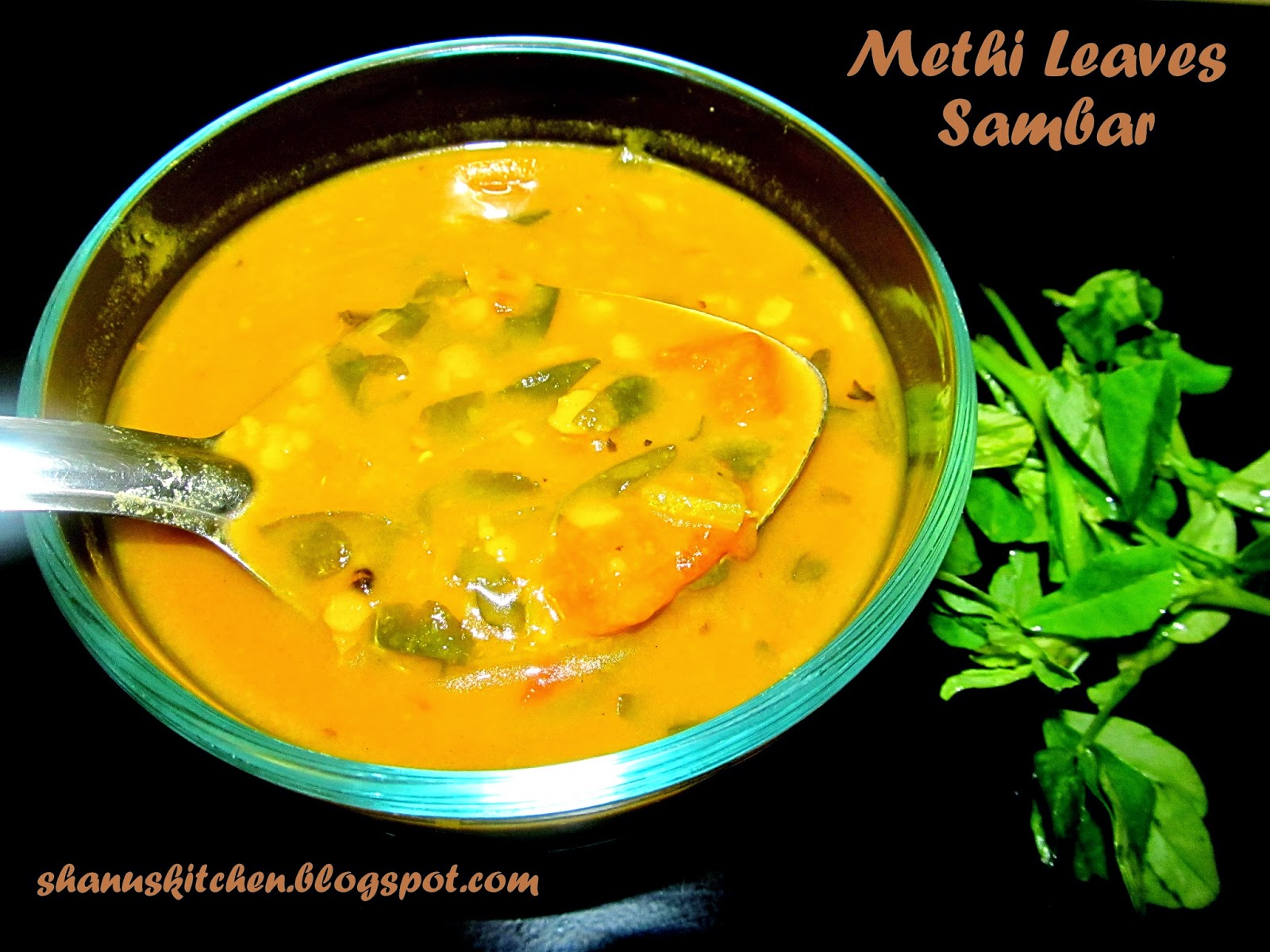 shanuskitchenMethi Leaves Sambar