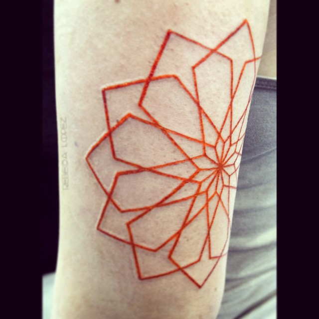 Sacred geometry square orange rose tattoo by Rebeca Lopez