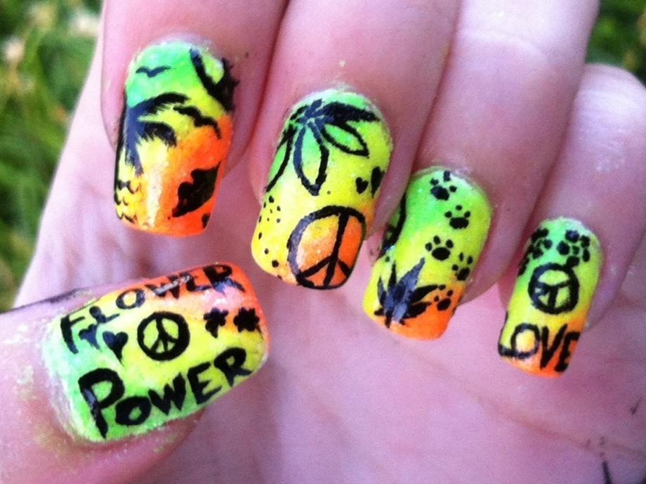 Nerdy Nails Hippie Neon