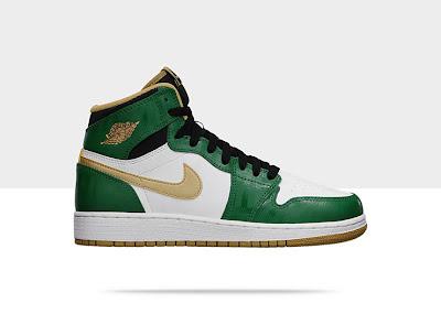 Air Jordan 1 Retro High OG Kids' Shoe Green/Gold, Style - Color # 575441-315